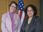 Sutley (right) with Iowa Environmental Council Executive Director Marian Riggs Gelb