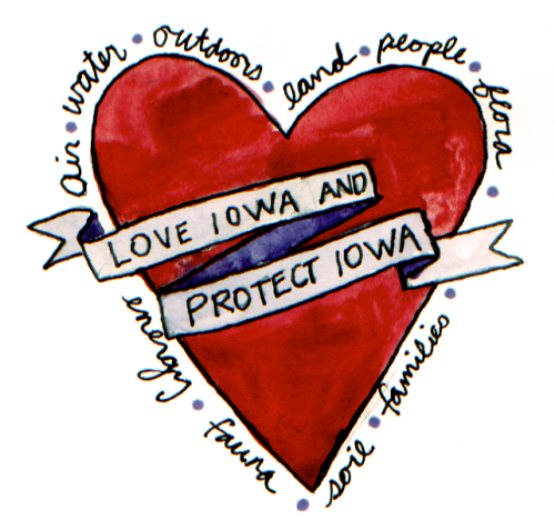 "A banner reading ""Love Iowa and Protect Iowa"" superimposed over a large red heart."