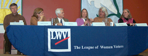 Panelists seated at the League of Women voters event April 17.