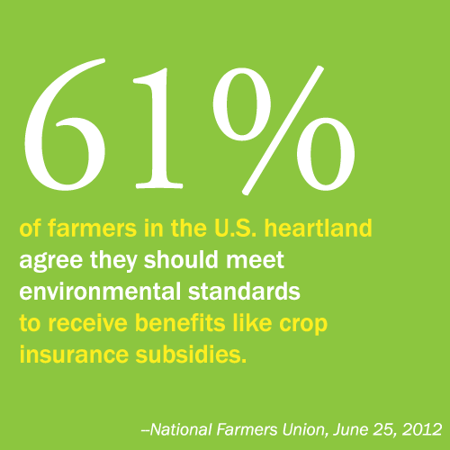 61% of farmers in the U.S. heartland agree they should meet environmental standards to receive benefits like crop insurance subsidies.