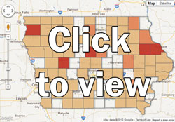 Click to view the Iowa Environmental Council's map of manure spills by county.