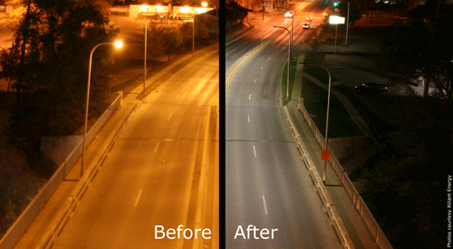 This image compares high pressure sodium lights (left) and new LED fixtures (right) which provide a higher quality of light with 20% less energy use. (Images courtesy Alliant Energy.)