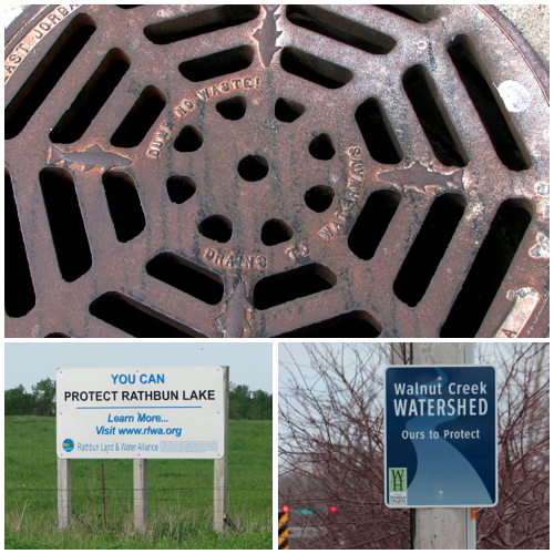 "Signs of conservation action:  A drainage grate in Allerton, Iowa, reads ""Dump no waste!  Drains to waterways.""  A sign near Chariton advertises the Rathbun Land and Water Alliance.  Windsor Heights, Iowa, has installed signs identifying the Walnut Creek watershed, which includes a big piece of the city."