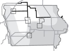 MidAmerican's wind expansion will be spread across the five counties outlined on the map above.  Proposed new or upgraded transmission lines are shown in black, along with the windiest portion of the state, in white.